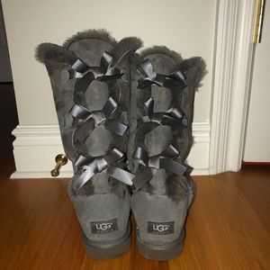 Gray Bow Tall Uggs